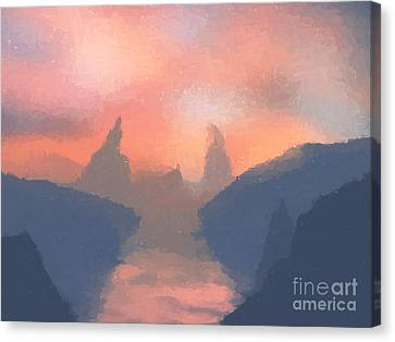Sunset Valley  Canvas Print by Pixel  Chimp