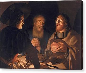 Supper At Emmaus Canvas Print by Cryn Hendricksz Volmaryn