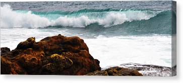 Surf Breaking Near Coast Canvas Print by Phill Petrovic