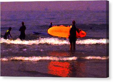 Surf Lessons Canvas Print by Ron Regalado