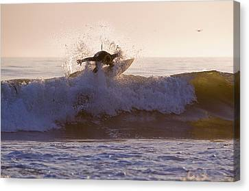 Surfer At Dusk Riding A Wave At Rincon Canvas Print by Rich Reid