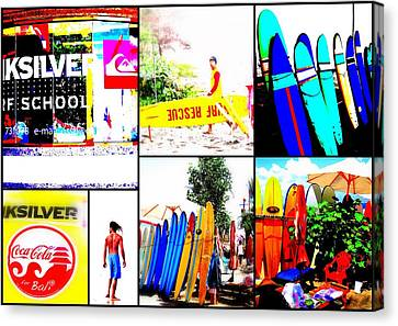 Surfing Bali Beaches Canvas Print by Funkpix Photo Hunter