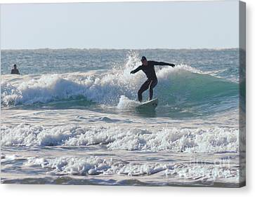 Surfing The Atlantic Canvas Print by Brian Roscorla