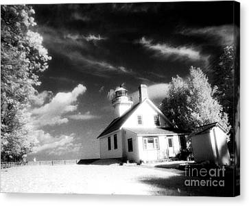 Surreal Black White Infrared Black Sky Lighthouse - Traverse City Michigan Mission Point Lighthouse Canvas Print by Kathy Fornal