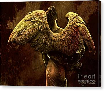 Surreal Fantasy Angel Art Wings Impressionistic   Canvas Print by Kathy Fornal