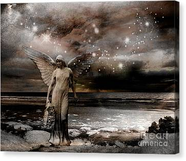 Surreal Fantasy Celestial Angel With Stars Canvas Print by Kathy Fornal