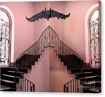 Surreal Fantasy Gothic Gargoyle Over Staircase Canvas Print by Kathy Fornal