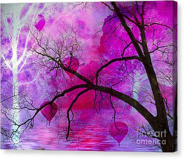 Surreal Fantasy Pink Purple Tree With Balloons Canvas Print by Kathy Fornal