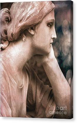 Surreal Female Face Dreamy Contemplation  Canvas Print by Kathy Fornal