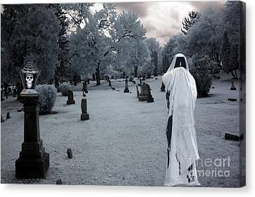 Surreal Gothic Spooky Grim Reaper And Skull Canvas Print by Kathy Fornal