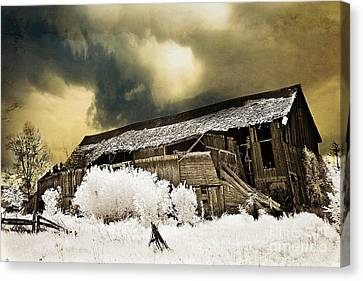 Surreal Infrared Barn Scene With Stormy Sky Canvas Print by Kathy Fornal