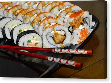 Sushi And Chopsticks Canvas Print by Carolyn Marshall