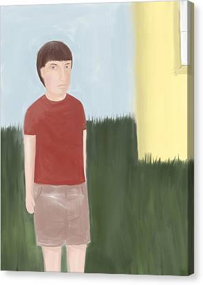 Suspicous Boy In Red Shirt Canvas Print by Sarah Countiss