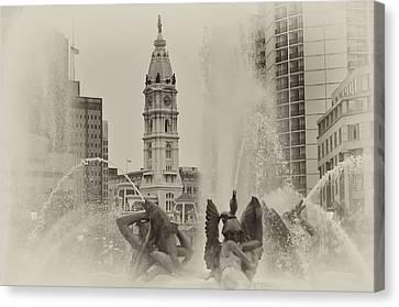 Swann Memorial Fountain In Sepia Canvas Print by Bill Cannon