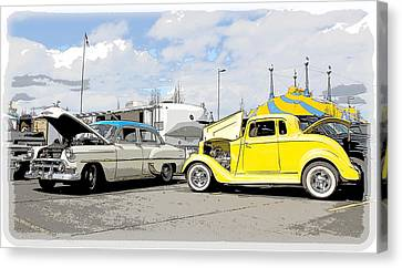 Swap Meet Plymouth And Chevy  Canvas Print by Steve McKinzie