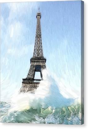 Swimming Pleasure In Paris Canvas Print by Steve K