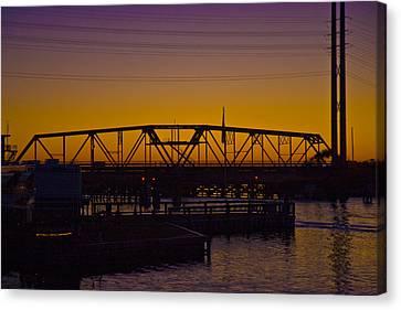 Swing Bridge Sunset Canvas Print by Betsy C Knapp