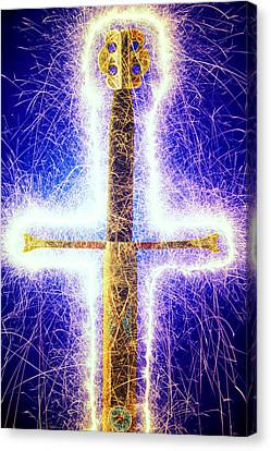 Sword With Sparks Canvas Print by Garry Gay
