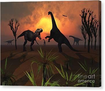 T. Rex Confronts A Group Canvas Print by Mark Stevenson