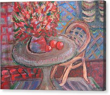 Table With Flowers And Chair Canvas Print by Anne-Elizabeth Whiteway