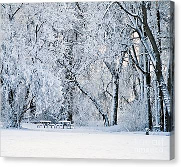 Tables With A View Canvas Print by Harry Strharsky