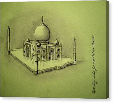 Taj Mahal Drawing Canvas Print by Ammar Khan