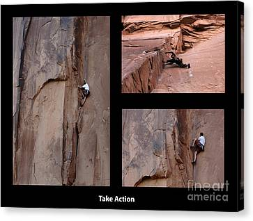 Take Action With Caption Canvas Print by Bob Christopher