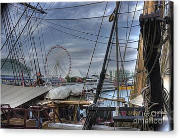 Tall Ships At Navy Pier Canvas Print by David Bearden