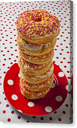 Tall Stack Of Donuts Canvas Print by Garry Gay