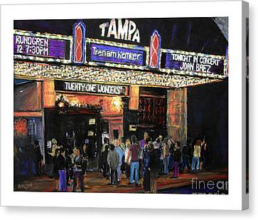 Tampa Theatre Night Lights Canvas Print by Barry Rothstein