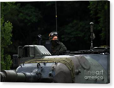 Tank Commander Of A Leopard 1a5 Mbt Canvas Print by Luc De Jaeger