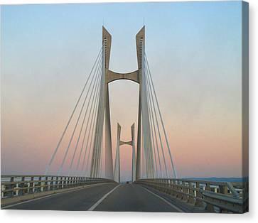 Tarascon-beaucaire Bridge At Dusk Canvas Print by Michael Grabois