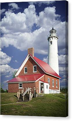 Tawas Point Lighthouse In Michigan Number 0007 Canvas Print by Randall Nyhof