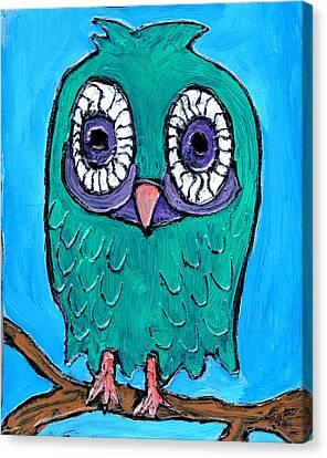 Teal Hooter 1 Canvas Print by Wayne Potrafka
