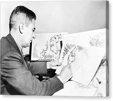 Ted Geisel Dr. Seuss 1904-1991 At Work Canvas Print by Everett