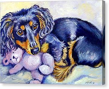 Teddy Cuddles - Dachshund Canvas Print by Lyn Cook