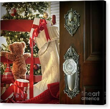 Teddy Waiting For Christmas Time Canvas Print by Sandra Cunningham