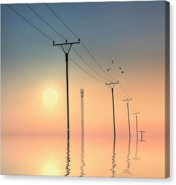 Telephone Post At Sunset Canvas Print by Kurtmartin