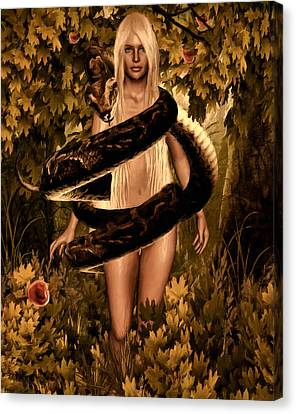 Temptation And Fall Canvas Print by Lourry Legarde