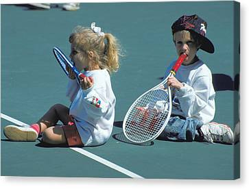 Tennis Tots At Wimbledon Canvas Print by Carl Purcell