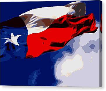 Texas Flag In The Wind Color 16 Canvas Print by Scott Kelley