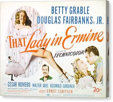 That Lady In Ermine, Betty Grable Canvas Print by Everett
