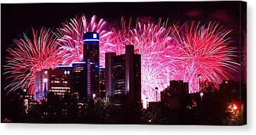 The 54th Annual Target Fireworks In Detroit Michigan Canvas Print by Gordon Dean II