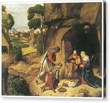 The Adoration Of The Shepherds Canvas Print by Giorgione
