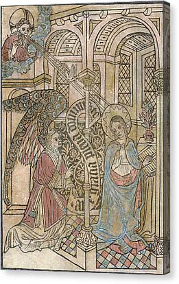 The Annunciation, Depicting Canvas Print by Everett
