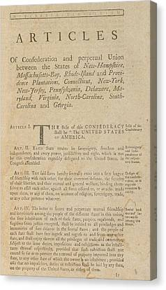 The Articles Of Confederation. First Canvas Print by Everett