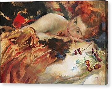The Artist's Mistress Canvas Print by Charles Sims