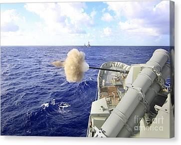 The Australian Navy Frigate Hmas Canvas Print by Stocktrek Images