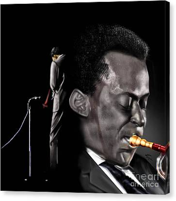 The Back And The Affront Of Miles Davis Canvas Print by Reggie Duffie