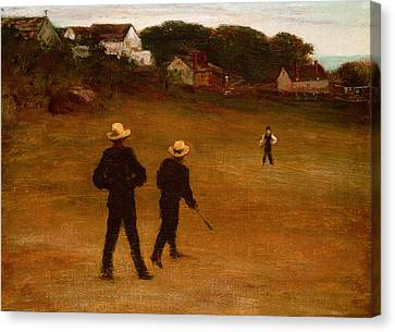 The Ball Players Canvas Print by William Morris Hunt